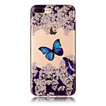 Para o iphone 7 mais 7 material do tpu imd processo caixa azul do telefone do teste padrão da borboleta 6s mais 6 mais 6s 6 5s 5 se 5c