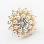 Korean Style aristocraticTemperament Rhinestone Flower Pearl Ring Movie Jewelry