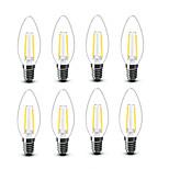 2W E14 Ampoules à Filament LED C35 2 COB 200 lm Blanc Chaud Décorative AC220 AC230 AC240 V 8 pièces