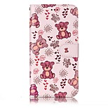 For LG G6 Case Cover Bear Pattern Shine Relief PU Material Card Stent Wallet Phone Case