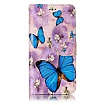 For LG G6 Case Cover Purple Flowers Butterfly Pattern Shine Relief PU Material Card Stent Wallet Phone Case
