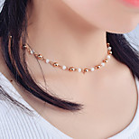 Women's Handmade Crystal Beaded Lockbone Chain Simple Casual Necklace Jewelry For Wedding Party Special Occasion Halloween Birthday Congratulations
