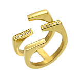 Unique Rock Punk Style 316L Stainless Steel CZ Female 18K Gold Ring For Women