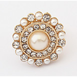 Korean Style Rhinestone  Quietly Elegant Temperament Concise And Pearl Flower Ring Gift Jewelry