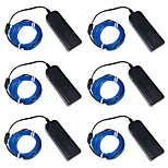 YouOKLight 6PCS 3M Blue/Red/Green 4 Modes Flexible Neon EL Wire Light Dance Party Decor Light