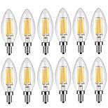 6W E14 Lâmpadas de Filamento de LED C35 6 COB 600 lm Branco Quente Branco Frio Decorativa AC 220-240 V 12 Pças.