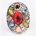 Euramerican Oval Multicolor Luxury Multi-stone Women's Cuff Ring Movie Jewelry