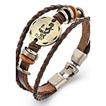 Unsex Vintage Virgo Weave Leather Bracelet   Jewelry For Daily 1 pc