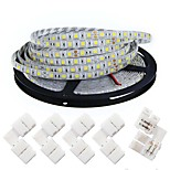 KWB LED Light Strips 5050 Waterproof  5M 300 leds 4200 lmWarm White/ White/ Red /Yellow /Blue/ Green/DC 12V With 5PCS 5050 Strip Light Connector
