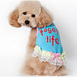 Dog Dress Dog Clothes Summer Princess Cute Fashion Casual/Daily Blue Blushing Pink