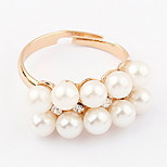 Korean Style Meteor Shower Fashion Luxury Elegant Classic Pearl Diamond Ring Movie Jewelry