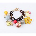 Women's Charm Bracelet Jewelry Friendship Fashion Alloy Round Flower Rainbow Jewelry For Party Birthday Gift 1pc
