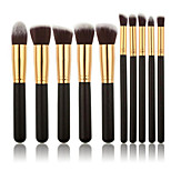 10 Cosmetic Brushes Black Handles Gold Tubes Make-up Brushes And Beauty Sets