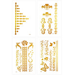 6Pcs Jewelry Accessories Bracelets Gold Tattoo Stickers Waterproof Temporary Glitter Tattoo Sticker