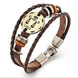 Unsex Vintage Libra Weave Leather Bracelet   Jewelry For Daily 1 pc