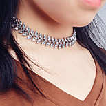 Women's Crystal Alloy Leaf Pattern Short Necklace Fashion Zircon Choker Basic Silver Jewelry For Wedding Party Halloween Birthday