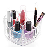 Acrylic Transparent Portable Loving Heart Cosmetics Makeup Storage Stand Makeup Brush Pot Cosmetic Organizer for Lipstick Eyeliner Nail Polish