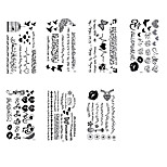 7Pcs Waterproof Fake Tattoo  Stickers  Butterfly Black Rose Feather Arabic Temporary Tattoos Body Art Tattoo
