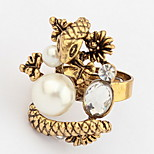 Euramerican Vintage Fashion Rhinestone Snake Spirit Bead Metal Cuff  Ring Statement Jewelry