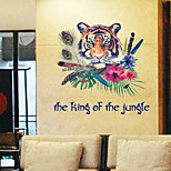 Creative Vintage Tiger King Flower Wall Stickers Fashion Living Room Wall Decals