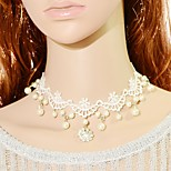 Women's Choker Necklaces Square Lace Pendant Imitation Pearl Fashion Jewelry ForWedding Party Special Occasion Anniversary Birthday Thank