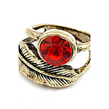 Euramerican Vintage Leaf  Fashion  Lady Party Red Diamond Ring Movie Jewelry