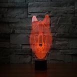 el nuevo 2017 lobos 3 d lámpara 7 táctil de color llevada recargable lámparas táctiles de la lámpara de proyección de luz visual