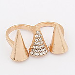 Euramerican  Fashion Gold Women's  Rhinestone  Three Pyramidal Cuff  Double Ring Movie Jewelry