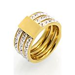 Fashion 3 Row Cubic Zirconia 10mm Width Stainless Steel Rings For Women 18K Gold Plated Jewelry
