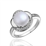 Ring Imitation Pearl AAA Cubic ZirconiaBasic Circular Unique Design Rhinestone Natural Circle Friendship Cute Style Imitation Pearl