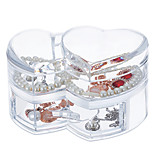 Acrylic Transparent Large Capacity Loving Heart Makeup Cosmetics Jewelry Storage Box Cosmetic Organizer Jewelry Display Box with Lid&Drawer