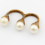 Korean And Simple Style Elegant Lady Pearl Double  Ring Movie Jewelry