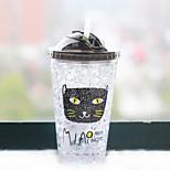 450ml mini conveniente de doble pared de vidrio de viaje gato de dibujos animados botella de agua drinkware
