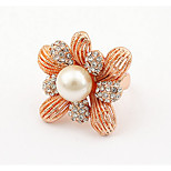Korean Style Gold Elegant Rhinestone  Luxury  Fine Pearl Flower Ring Party Gift Jewelry