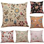 Set of 6 Sweet Petals Pattern Linen Pillowcase Sofa Home Decor Cushion Cover  Throw Pillow Case (18*18inch)