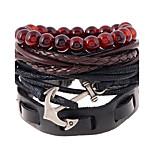 Femme Homme Bracelets en cuir Mode Cuir Forme Géométrique Bijoux Pour Mariage Soirée Sports 1pc