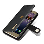For Huawei P8 Lite (2017) Case Cover Card Holder Wallet with Stand Flip Magnetic Full Body Solid Color Hard Genuine Leather