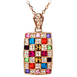 Austrian Crystal Square Necklace Luxury Colorful Rainbow Queen's Necklace Euramerican