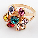 Korean Style Multicolor Gem Fashion Luxury Flower Women's Ring Movie Jewelry