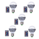 3W E27 Bombillas LED de Globo A60(A19) 1 LED Integrado 300 lm RGB Regulable Control Remoto Decorativa AC 85-265 V 5 piezas