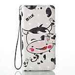For Huawei P8 Lite (2017) P9 Lite Case Cover Cartoon Cow Pattern Glare 3D Dimensional Glossy PU Material Stent Card Holster