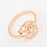 Euramerican Vintage Simple Style Gold Women's Rose Cuff Ring Gift Jewelry