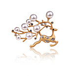 Women's Boys Other Brooches Imitation Pearl Animal Design Euramerican Personalized Gold Plated Alloy Deerl Shape Silver Gold Jewelry