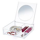 Acrylic Transparent Portable Quadrate Cosmetics Makeup Storage Stand Box Cosmetic Organizer for Lipstick Eyeliner Nail Polish with Lid&Mirror
