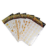 6Pcs Gold Golden Big Tattoo Stickers Indian Stars Wing Decoration Flash Tattoos Glitter Temporary Tattoo