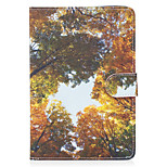 Pour apple ipad mini 4 3 2 1 carton couverture bois jaune modèle peint carte stent portefeuille pu matériel de peau coque de protection