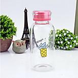 301-400ml Transparent Portable Glass Water Bottle