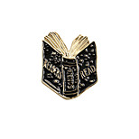 Fashion Trendy Metal Black Enamel Unfolded Book Readers Pin Brooch