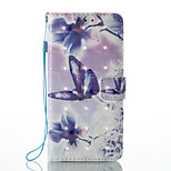 For Huawei P8 Lite (2017) P9 Lite Case Cover Butterfly Love Flower Pattern Glare 3D Dimensional Glossy PU Material Stent Card Holster