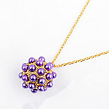 Ball Purple Pendant Sweater Chain Necklace Women Office Lady Jewelry for Women Bohemian British Gifts